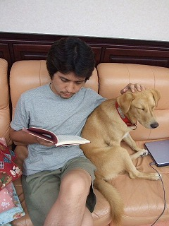 「コスモポリタン物語」を読む私(しつこいですね、犬が寝ています:笑)