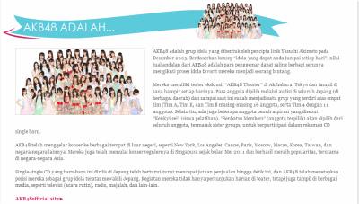 インドネシア語によるAKB48の説明文(JKT48公式ページより)