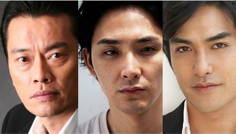 「ザ・レイド2」に出演する、左から遠藤憲一さん、松田龍平さん、北村一輝さん
