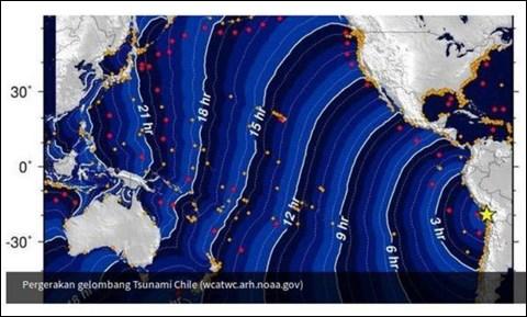 インドネシア国家災害対策庁のホームページに掲載された、アメリカ国家津波警報センターの画像データ