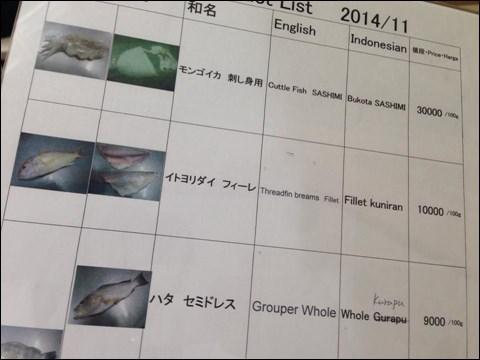 魚の取扱いメニュー。ここから選びます