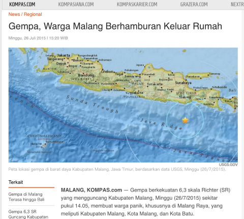 マラン 地震 インドネシア Kompas記事