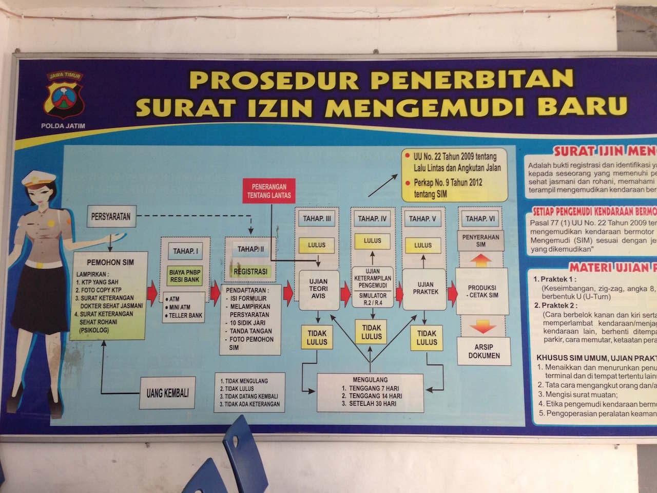 会場に掲示された「新たに免許を取得するための手順」の表