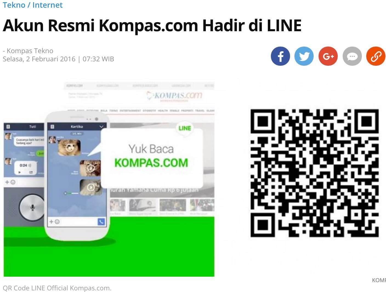 「Kompas.comの公式アカウントがLINEに登場」と報じるKompas記事より