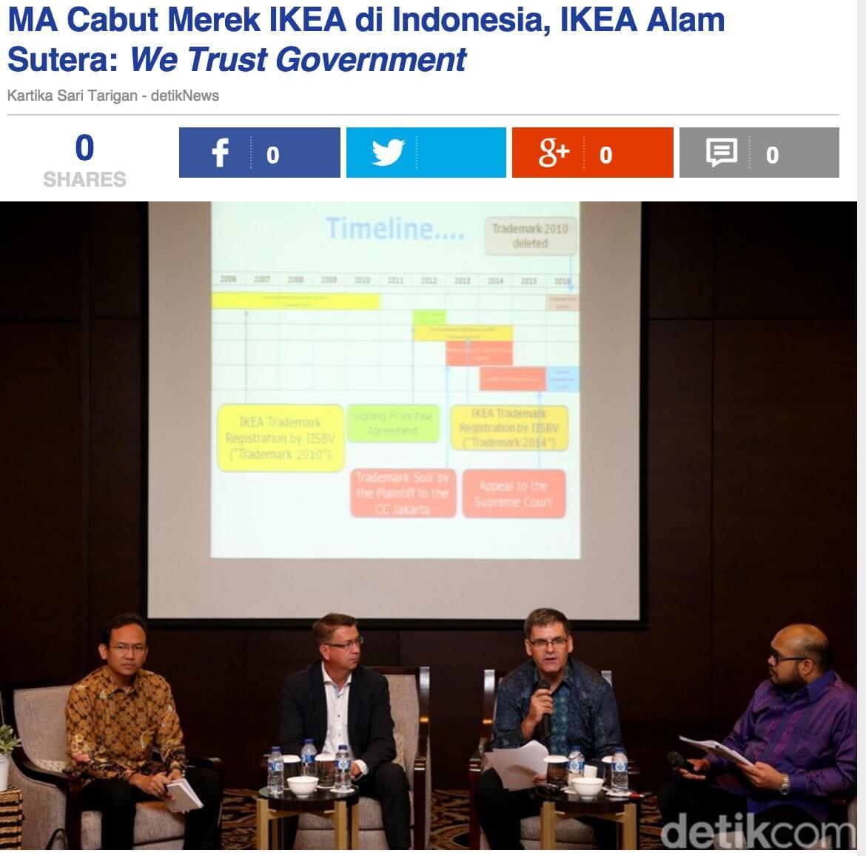 「最高裁はインドネシアにおけるIKEA商標を剥奪。IKEA Alam Sutera社は「我々は政府を信じる」とコメント」とのdetik.comの記事より