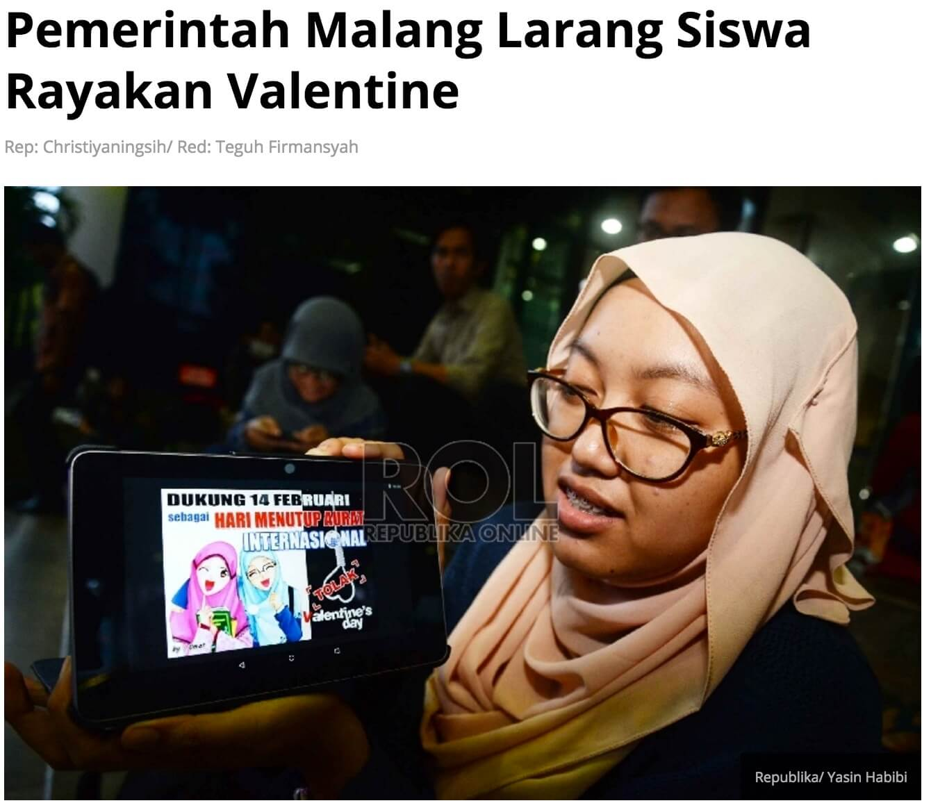 「マラン地方政府、学生がバレンタインを祝うことを禁止へ」とのRepublika Onlineの記事より
