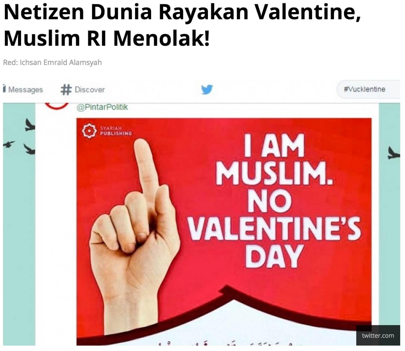 「ネティズンには、バレンタインを祝う人もいれば、拒否するインドネシアのイスラムもいる」とのRepublika Onlineの2015年記事より