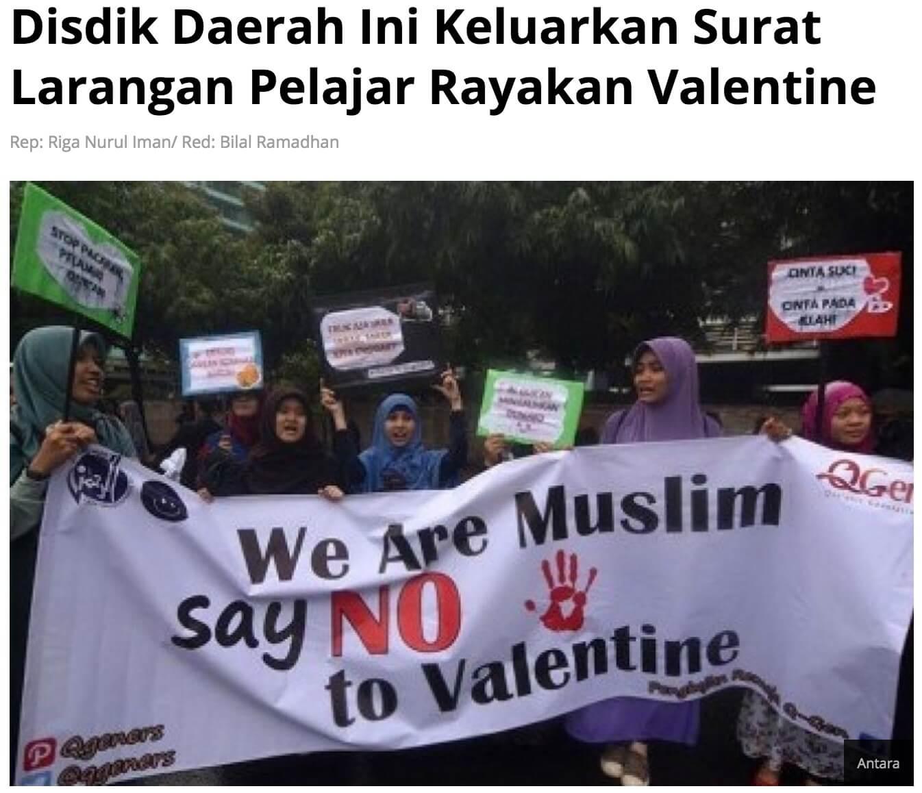 「地方教育局がバレンタインの祝福を禁じる文書を発行」とのRepublikaOnlineの2015年記事より