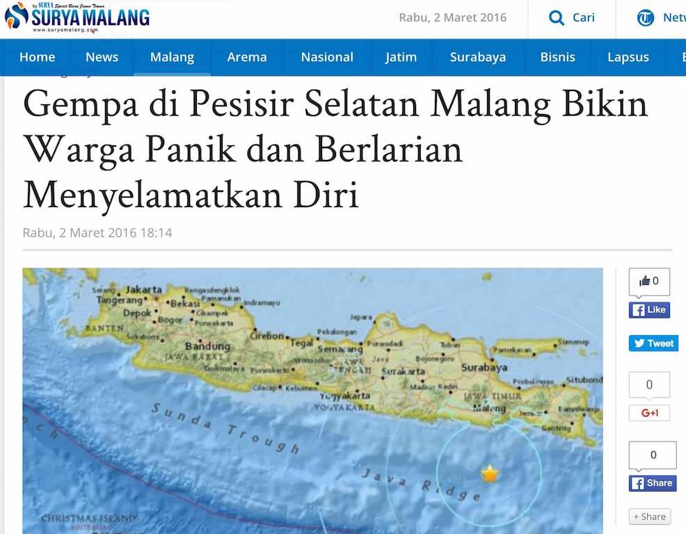 「南マラン沿岸での地震:住民はパニックになり安全確保に走り回る」