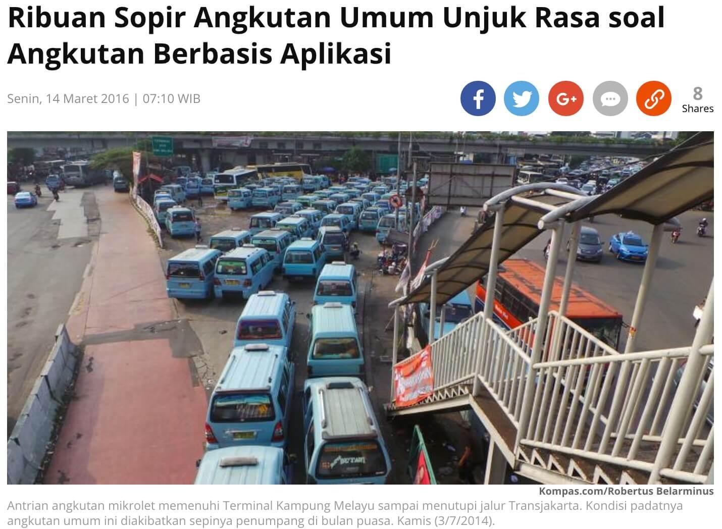 「数千の公共交通機関の運転手が、スマホアプリによる交通機関の問題でデモへ」とのKompas記事より