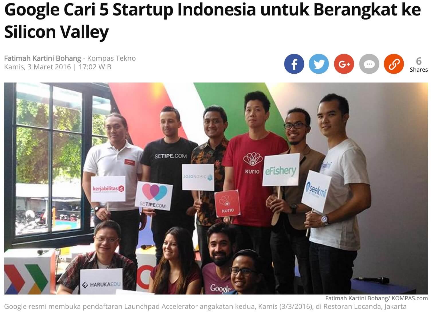 「Googleは、シリコンバレーに向かうインドネシアのスタートアップ企業を5社探している」とのKompas記事より