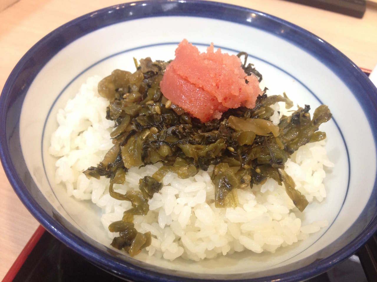 てんや羽田空港店の「明太子&高菜のっけご飯」