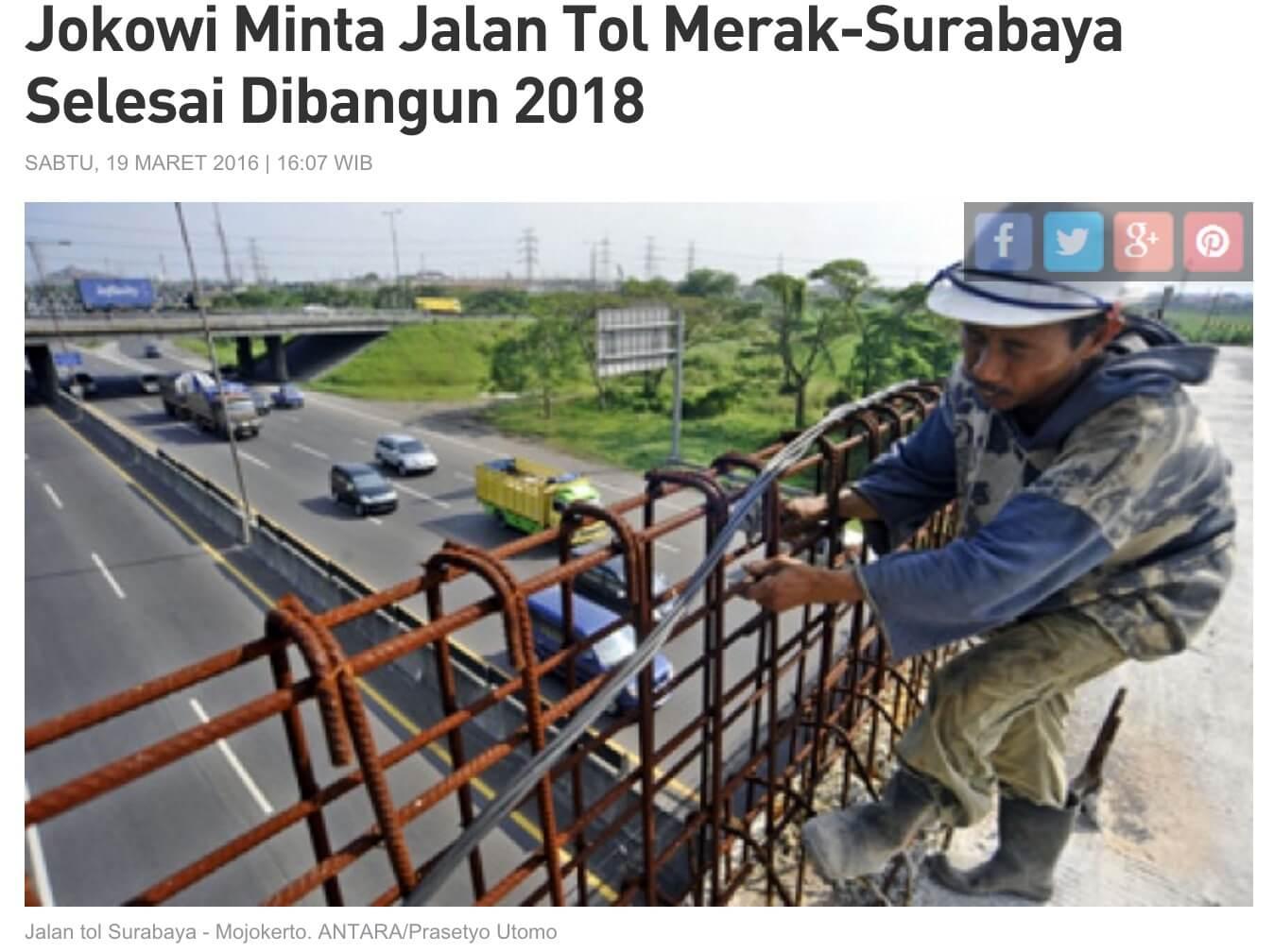「ジョコウィは、メラックースラバヤ間の高速道路が2018年に完成することを求めている」とのTempo記事より