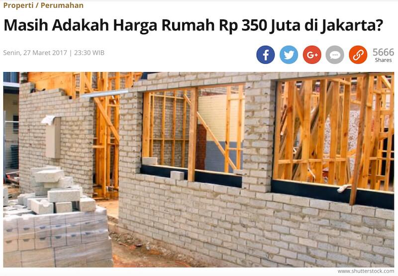Kompasの記事「3億5000万ルピア台の住宅、ジャカルタにまだあるの?」