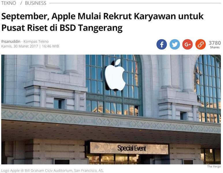 「9月にはアップルはタンゲランのBSDにおけるリサーチセンターの従業員採用を開始へ」とのKompas記事より