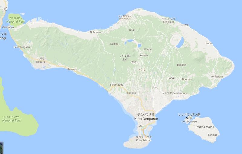 インドネシア・バリ島のグーグルマップ