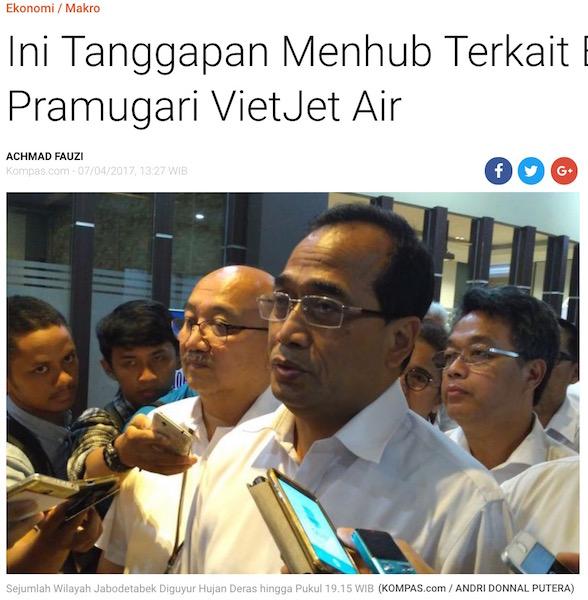 ベトジェットエアに関するインドネシアのメディアの記事