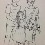 日本アニメ大好きのインドネシア 家族の似顔絵を描いてもらった結果