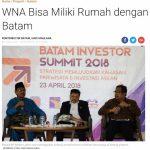 インドネシアのバタム島で「不動産投資」が前提の「滞在VISA」発給が検討されているとのニュース