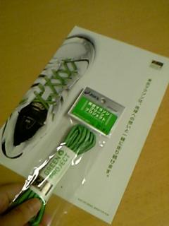 「グリーンランナーとして走ろう」と呼びかける「緑の靴ひも」