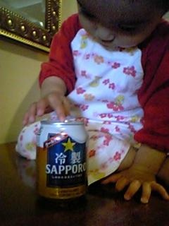 「冷製SAPPORO」と我が娘(宣伝ポスターを意識して撮影失敗・・・)