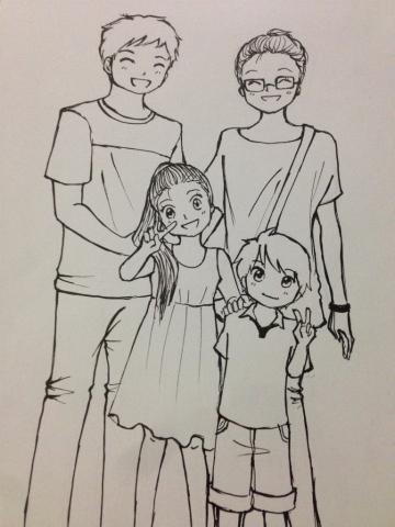 アニメ好きインドネシア人 家族の似顔絵