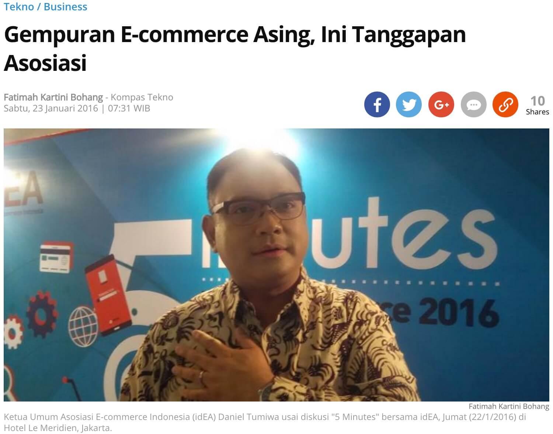 「海外のeコマースの攻勢について、これがインドネシアeコマース協会の見解だ」というKompasの記事より
