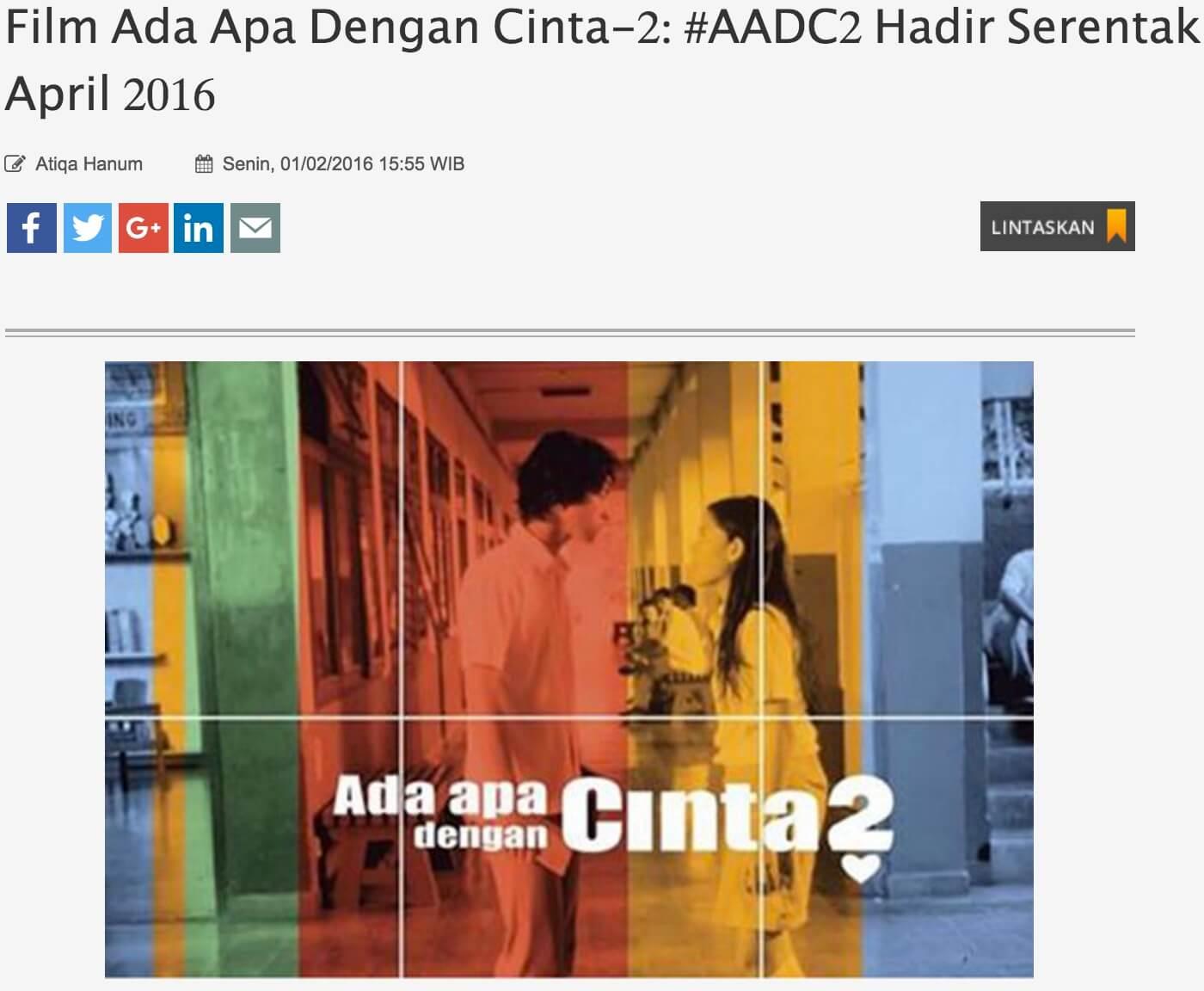 インドネシア映画 Ada apa dengan Cinta2 AADC2
