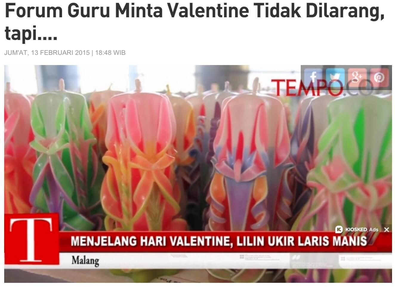 インドネシアのバレンタイン 禁止 教師の反応 Tempo