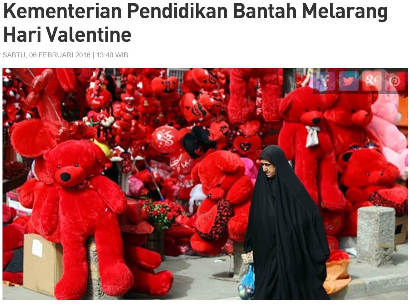 インドネシアのバレンタイン 禁止を否定 雑誌 Tempo