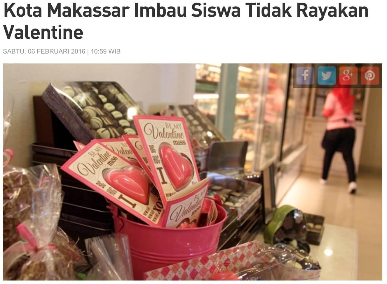 インドネシアのバレンタイン 禁止 マカッサル 雑誌 Tempo