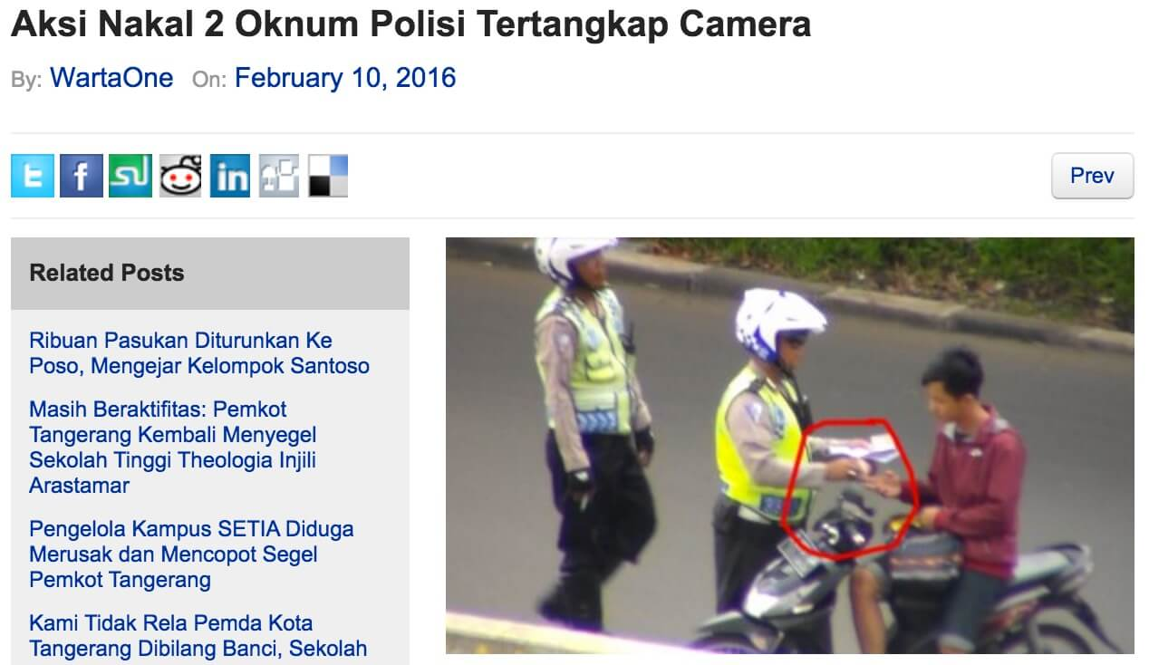 インドネシア 警察 賄賂 わいろ 記事