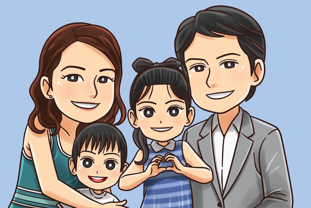 あるインドネシアの大学生が描いてくれた我が家の家族絵