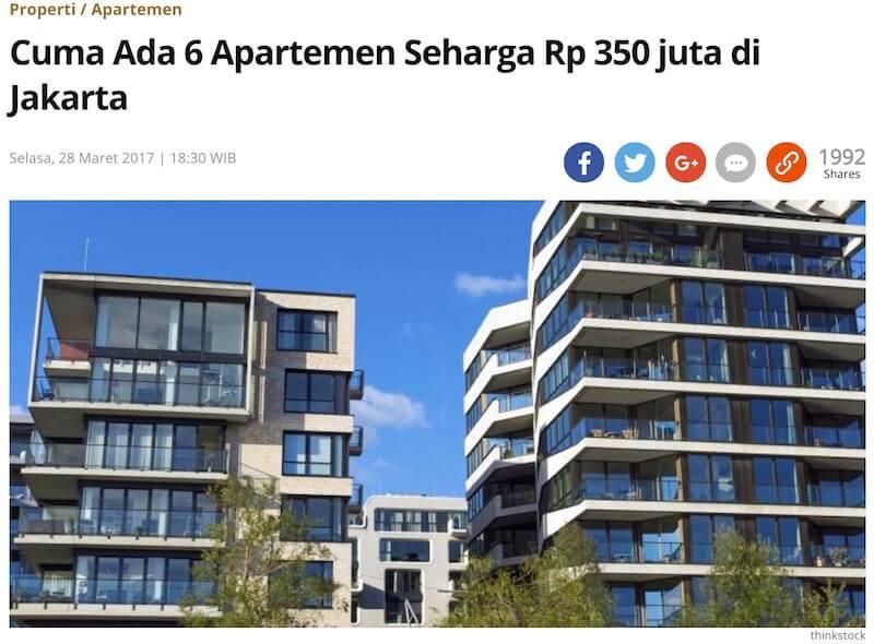 Kompasの記事「ジャカルタには3億5000万ルピア台のアパートメントは、たったの6つしかない」