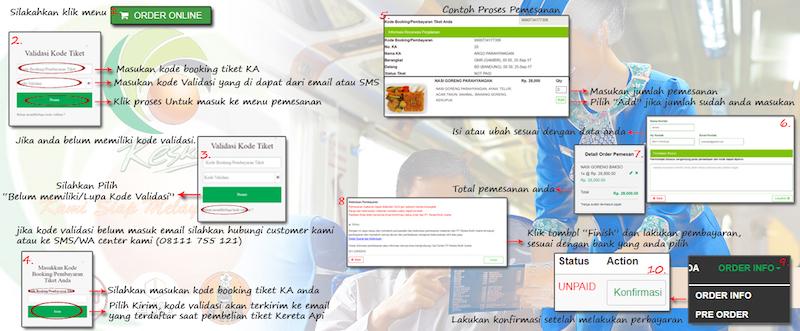 インドネシアの鉄道 車内の食事 事前注文のウェブサイト