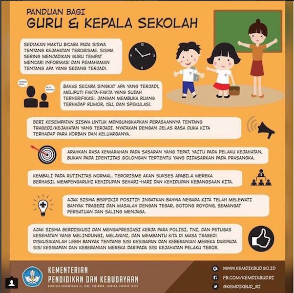 テロ対策の教育ポスター インドネシア教育文化省