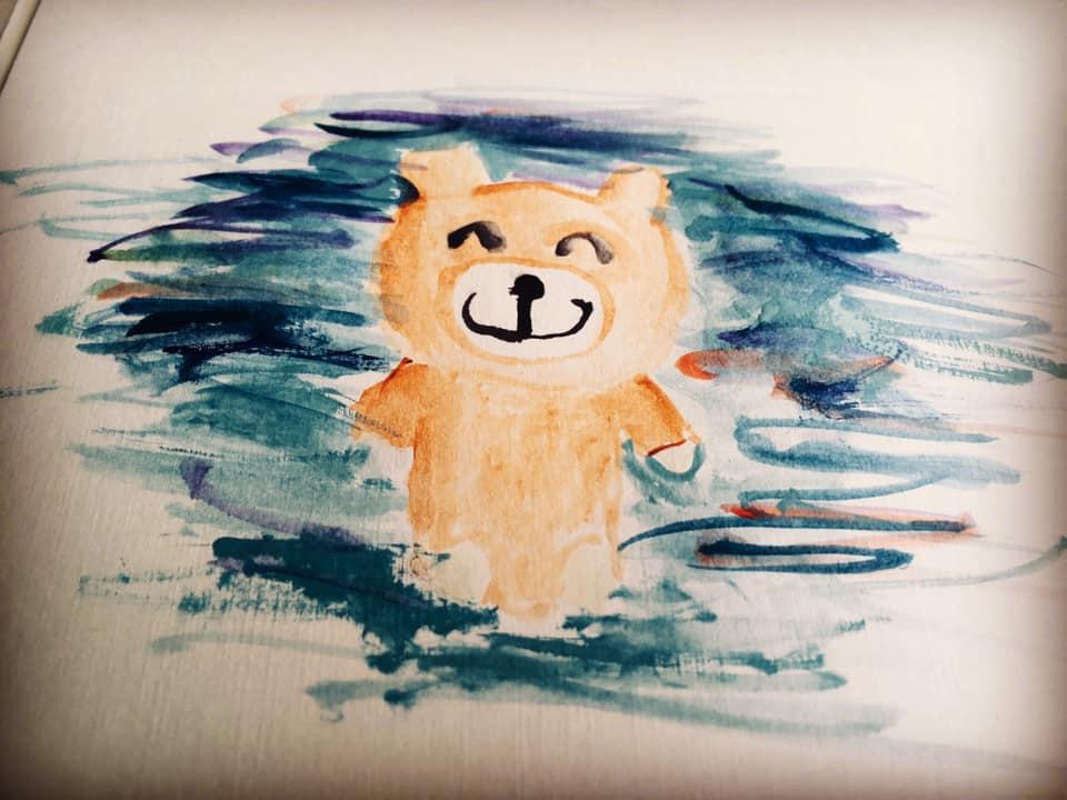 子供が描いた水彩画 熊
